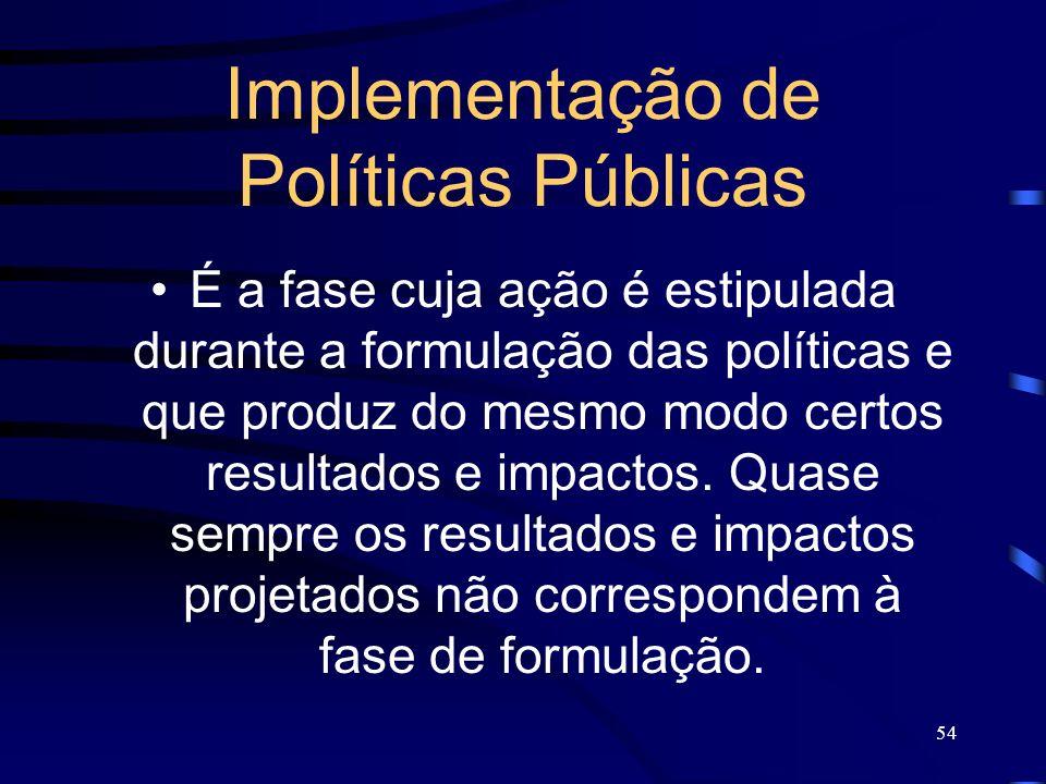 54 Implementação de Políticas Públicas É a fase cuja ação é estipulada durante a formulação das políticas e que produz do mesmo modo certos resultados