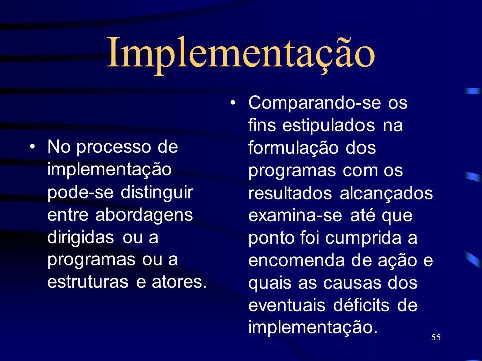 55 Implementação No processo de implementação pode-se distinguir entre abordagens dirigidas ou a programas ou a estruturas e atores. Comparando-se os