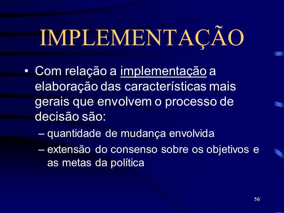 56 IMPLEMENTAÇÃO Com relação a implementação a elaboração das características mais gerais que envolvem o processo de decisão são: –quantidade de mudan