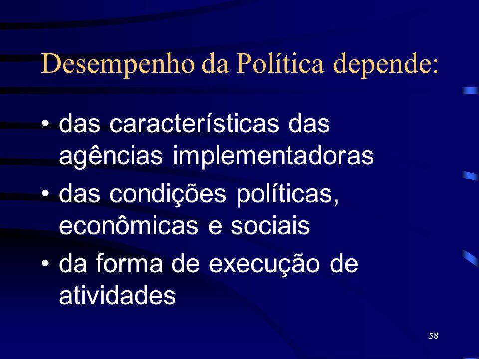 58 Desempenho da Política depende: das características das agências implementadoras das condições políticas, econômicas e sociais da forma de execução