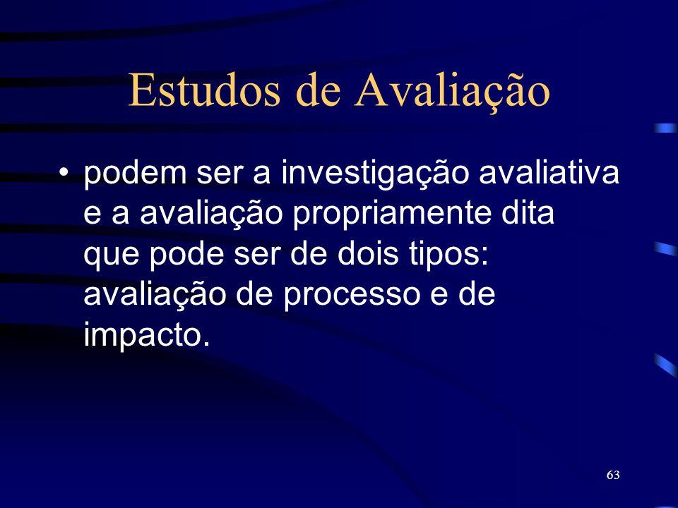 63 Estudos de Avaliação podem ser a investigação avaliativa e a avaliação propriamente dita que pode ser de dois tipos: avaliação de processo e de imp