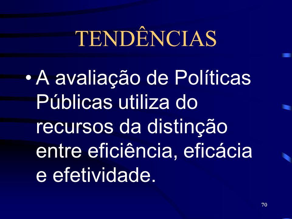 70 TENDÊNCIAS A avaliação de Políticas Públicas utiliza do recursos da distinção entre eficiência, eficácia e efetividade.
