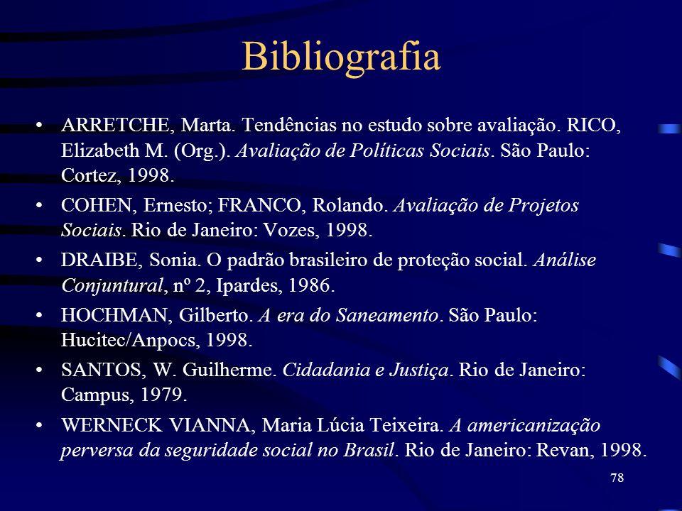 78 Bibliografia ARRETCHE, Marta. Tendências no estudo sobre avaliação. RICO, Elizabeth M. (Org.). Avaliação de Políticas Sociais. São Paulo: Cortez, 1