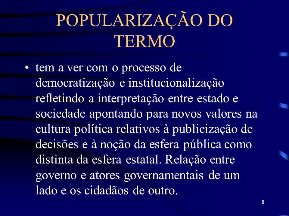 8 POPULARIZAÇÃO DO TERMO tem a ver com o processo de democratização e institucionalização refletindo a interpretação entre estado e sociedade apontand