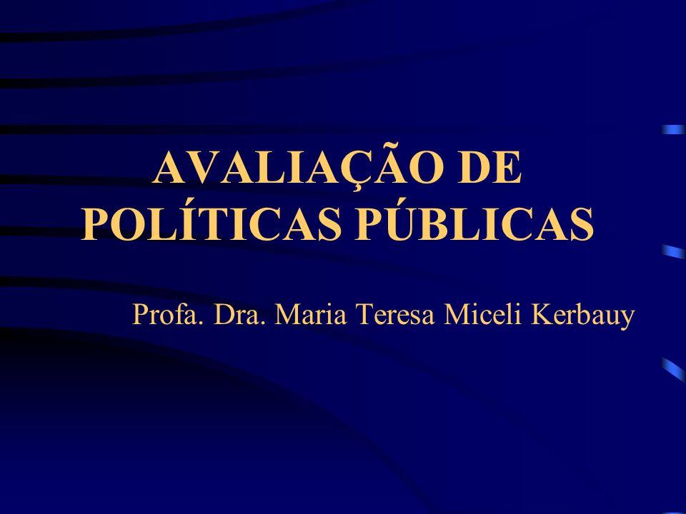 AVALIAÇÃO DE POLÍTICAS PÚBLICAS Profa. Dra. Maria Teresa Miceli Kerbauy