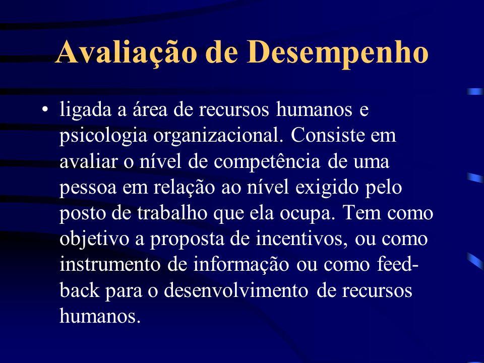 Avaliação de Desempenho ligada a área de recursos humanos e psicologia organizacional. Consiste em avaliar o nível de competência de uma pessoa em rel