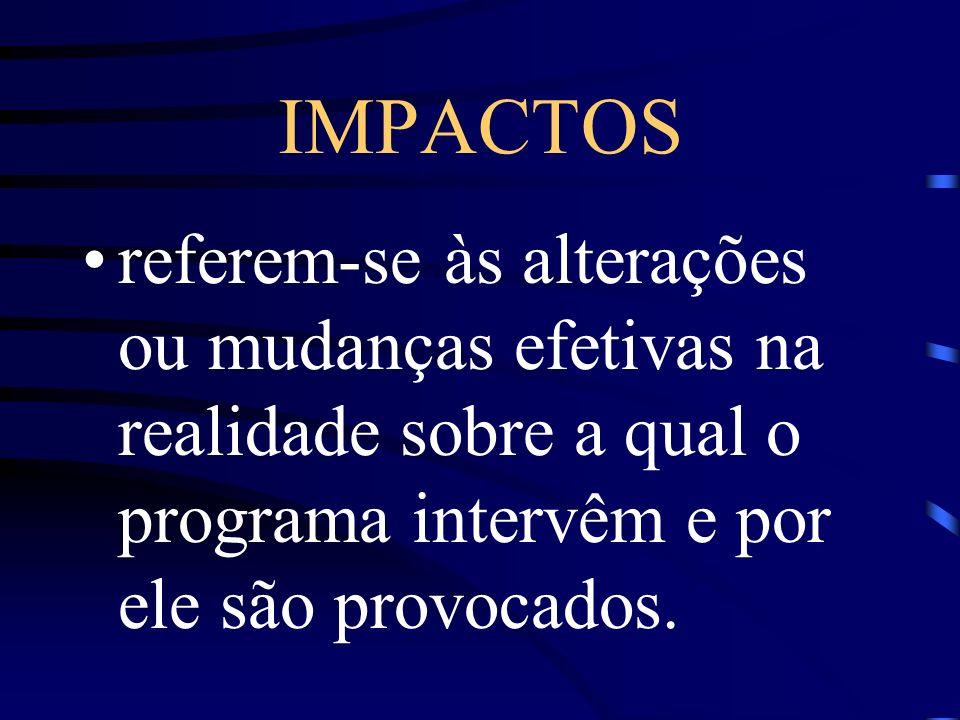 IMPACTOS referem-se às alterações ou mudanças efetivas na realidade sobre a qual o programa intervêm e por ele são provocados.