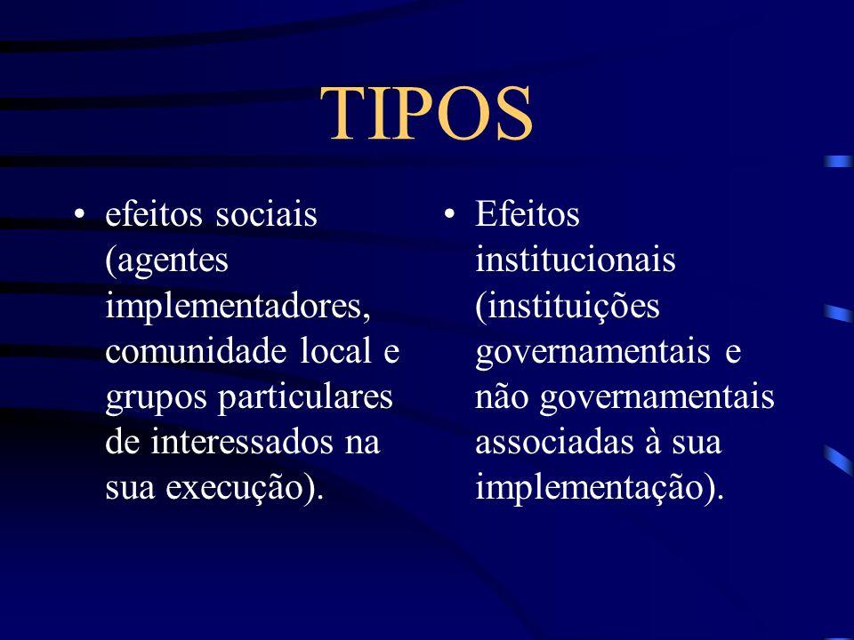 TIPOS efeitos sociais (agentes implementadores, comunidade local e grupos particulares de interessados na sua execução). Efeitos institucionais (insti