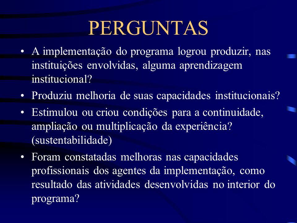 PERGUNTAS A implementação do programa logrou produzir, nas instituições envolvidas, alguma aprendizagem institucional? Produziu melhoria de suas capac