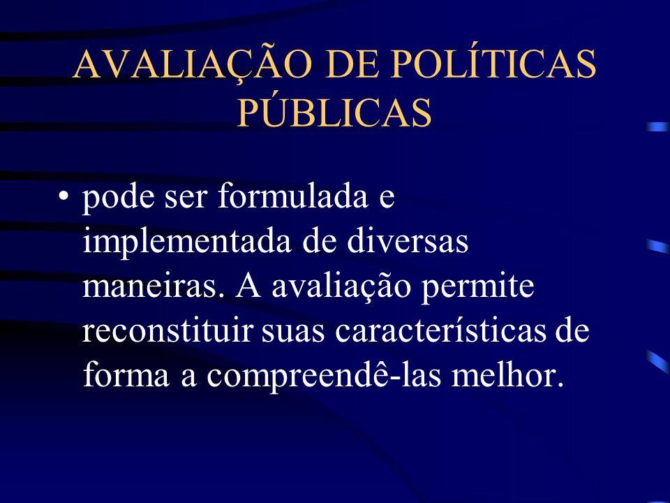 AVALIAÇÃO DE POLÍTICAS PÚBLICAS pode ser formulada e implementada de diversas maneiras. A avaliação permite reconstituir suas características de forma