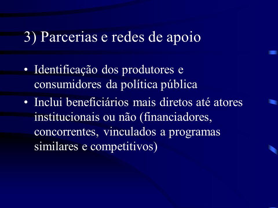 3) Parcerias e redes de apoio Identificação dos produtores e consumidores da política pública Inclui beneficiários mais diretos até atores institucion