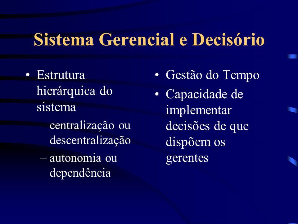 Sistema Gerencial e Decisório Estrutura hierárquica do sistema –centralização ou descentralização –autonomia ou dependência Gestão do Tempo Capacidade