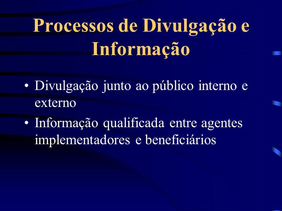 Processos de Divulgação e Informação Divulgação junto ao público interno e externo Informação qualificada entre agentes implementadores e beneficiário