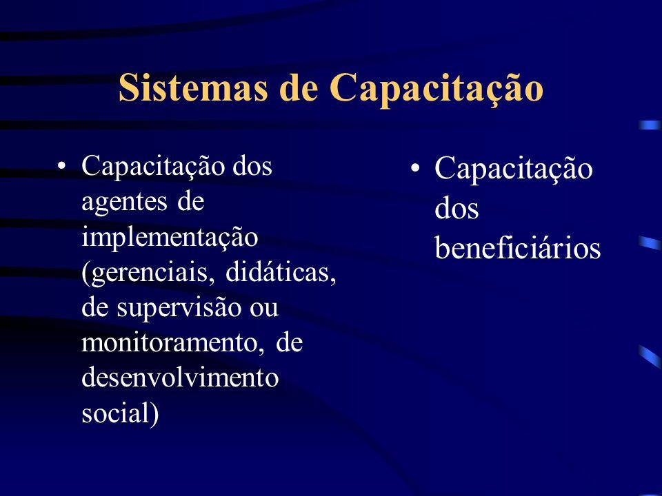 Sistemas de Capacitação Capacitação dos agentes de implementação (gerenciais, didáticas, de supervisão ou monitoramento, de desenvolvimento social) Ca