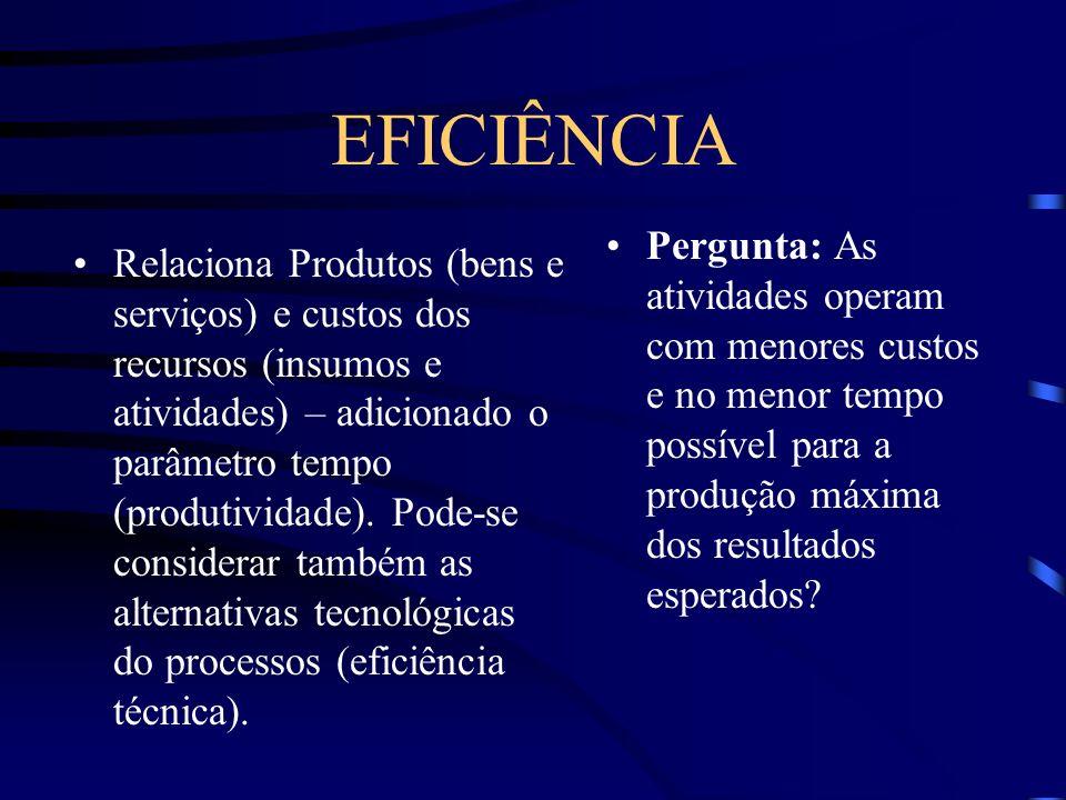 EFICIÊNCIA Relaciona Produtos (bens e serviços) e custos dos recursos (insumos e atividades) – adicionado o parâmetro tempo (produtividade). Pode-se c
