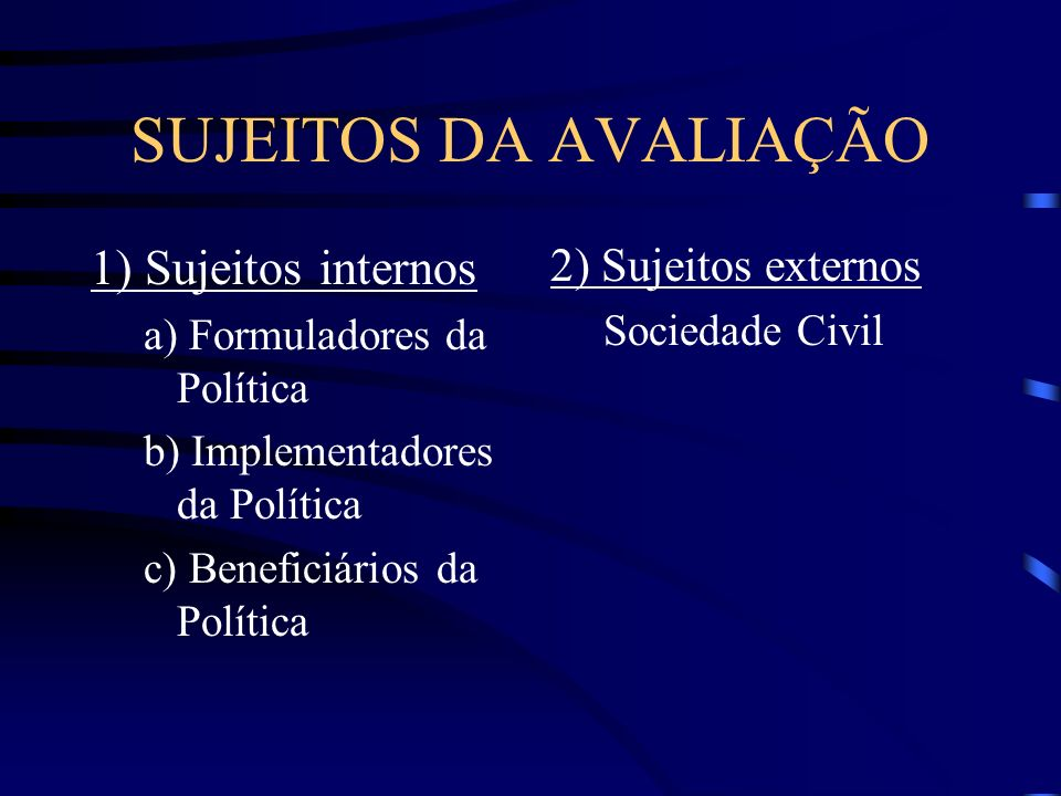 SUJEITOS DA AVALIAÇÃO 1) Sujeitos internos a) Formuladores da Política b) Implementadores da Política c) Beneficiários da Política 2) Sujeitos externo