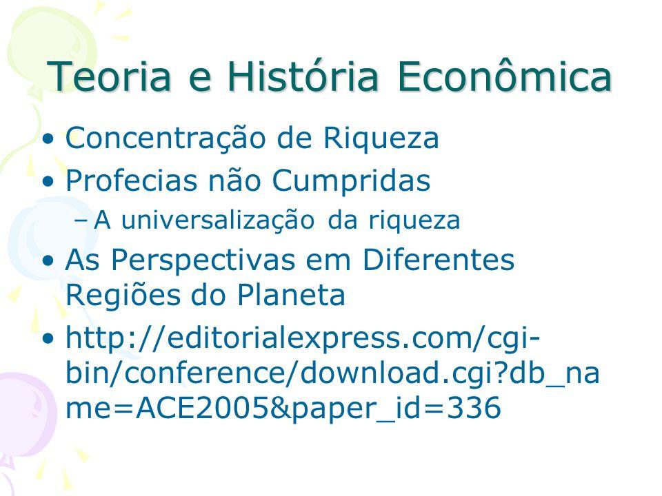 Teoria e História Econômica Concentração de Riqueza Profecias não Cumpridas –A universalização da riqueza As Perspectivas em Diferentes Regiões do Pla