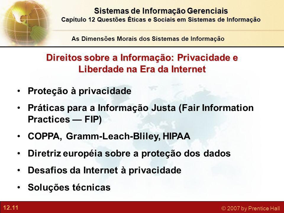 12.11 © 2007 by Prentice Hall Sistemas de Informação Gerenciais Capítulo 12 Questões Éticas e Sociais em Sistemas de Informação Direitos sobre a Infor