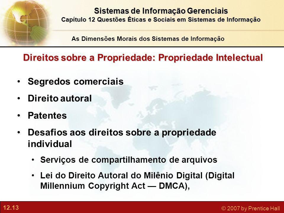 12.13 © 2007 by Prentice Hall Sistemas de Informação Gerenciais Capítulo 12 Questões Éticas e Sociais em Sistemas de Informação Direitos sobre a Propr