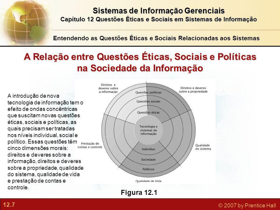 12.7 © 2007 by Prentice Hall Sistemas de Informação Gerenciais Capítulo 12 Questões Éticas e Sociais em Sistemas de Informação Figura 12.1 A Relação e