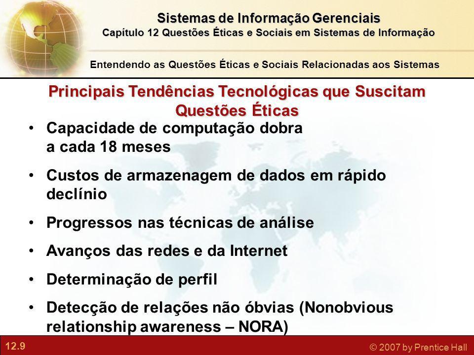 12.9 © 2007 by Prentice Hall Sistemas de Informação Gerenciais Capítulo 12 Questões Éticas e Sociais em Sistemas de Informação Principais Tendências T