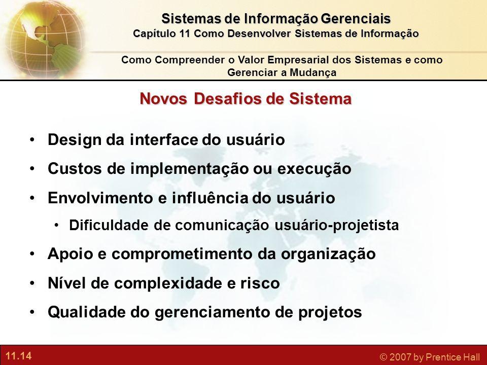 11.14 © 2007 by Prentice Hall Sistemas de Informação Gerenciais Capítulo 11 Como Desenvolver Sistemas de Informação Novos Desafios de Sistema Design d