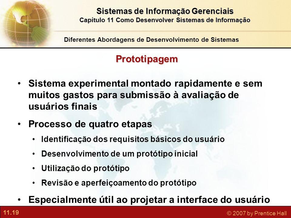 11.19 © 2007 by Prentice Hall Sistemas de Informação Gerenciais Capítulo 11 Como Desenvolver Sistemas de Informação Prototipagem Sistema experimental