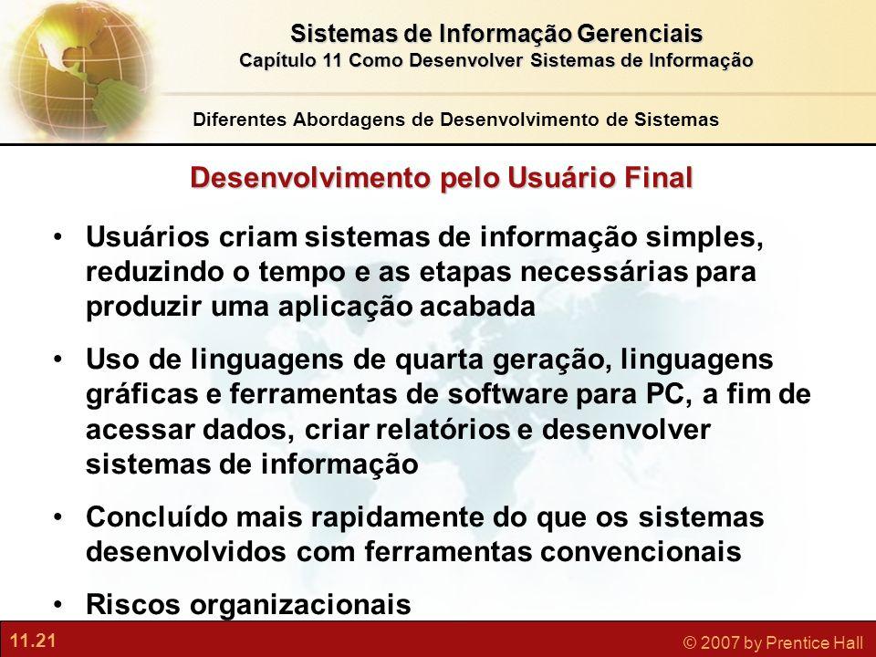 11.21 © 2007 by Prentice Hall Sistemas de Informação Gerenciais Capítulo 11 Como Desenvolver Sistemas de Informação Desenvolvimento pelo Usuário Final