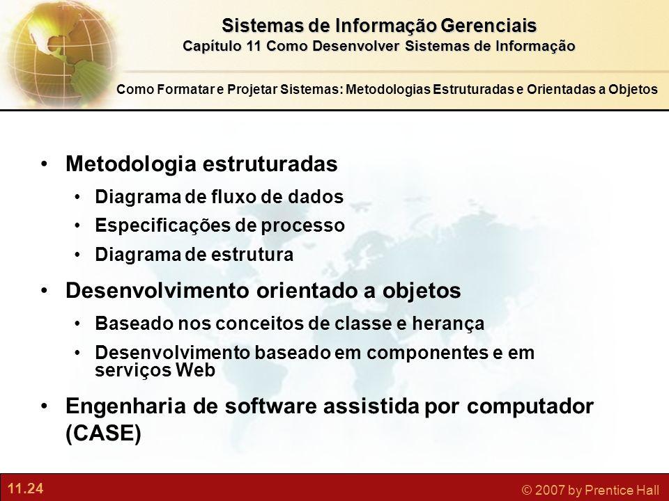 11.24 © 2007 by Prentice Hall Sistemas de Informação Gerenciais Capítulo 11 Como Desenvolver Sistemas de Informação Metodologia estruturadas Diagrama