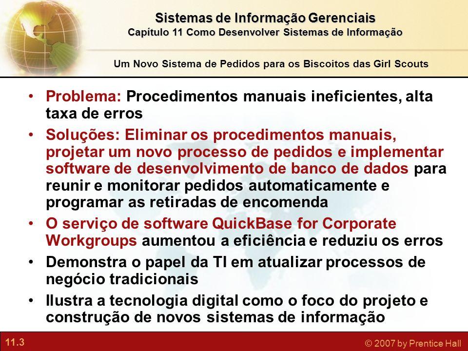 11.3 © 2007 by Prentice Hall Sistemas de Informação Gerenciais Capítulo 11 Como Desenvolver Sistemas de Informação Um Novo Sistema de Pedidos para os