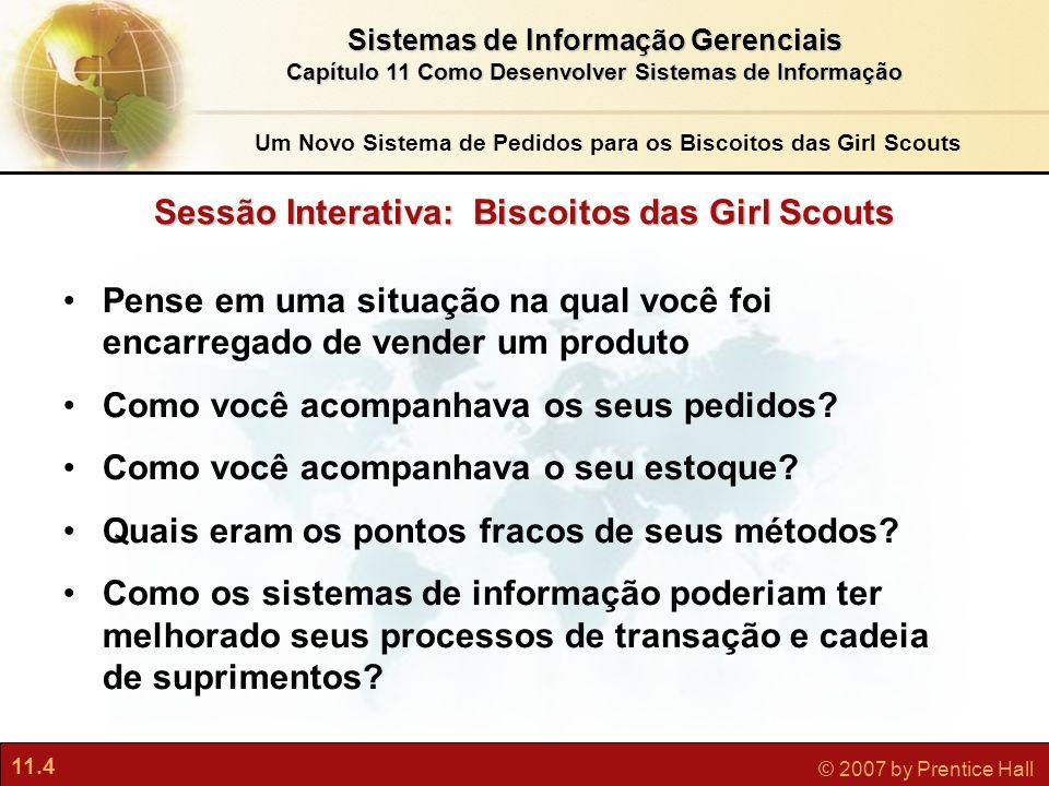 11.4 © 2007 by Prentice Hall Sistemas de Informação Gerenciais Capítulo 11 Como Desenvolver Sistemas de Informação Sessão Interativa: Biscoitos das Gi