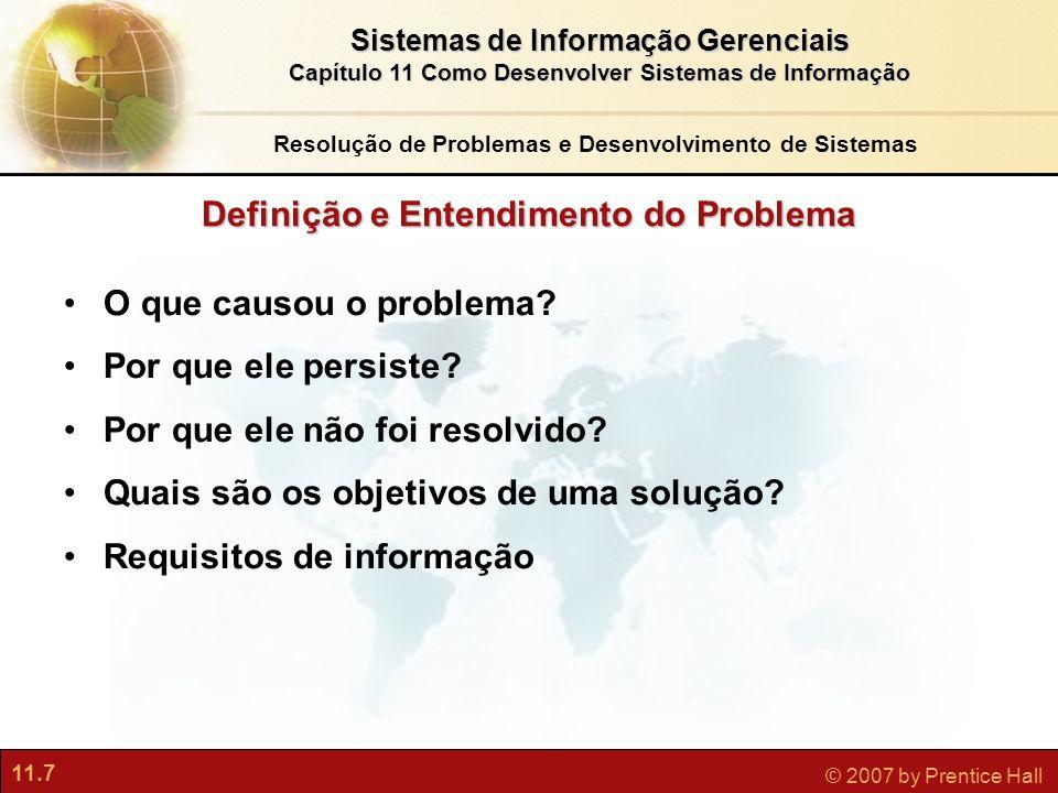 11.7 © 2007 by Prentice Hall Sistemas de Informação Gerenciais Capítulo 11 Como Desenvolver Sistemas de Informação Definição e Entendimento do Problem