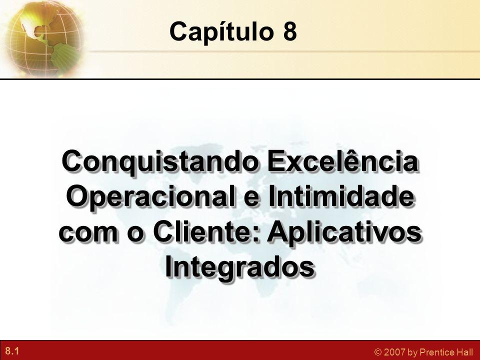 8.1 © 2007 by Prentice Hall Capítulo 8 Conquistando Excelência Operacional e Intimidade com o Cliente: Aplicativos Integrados