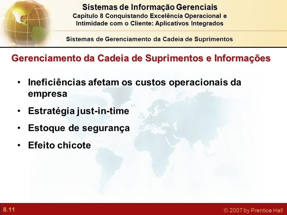 8.11 © 2007 by Prentice Hall Sistemas de Informação Gerenciais Capítulo 8 Conquistando Excelência Operacional e Intimidade com o Cliente: Aplicativos