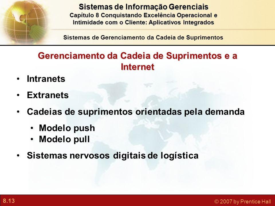8.13 © 2007 by Prentice Hall Sistemas de Informação Gerenciais Capítulo 8 Conquistando Excelência Operacional e Intimidade com o Cliente: Aplicativos