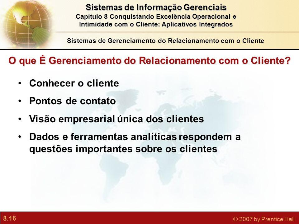 8.16 © 2007 by Prentice Hall Sistemas de Informação Gerenciais Capítulo 8 Conquistando Excelência Operacional e Intimidade com o Cliente: Aplicativos