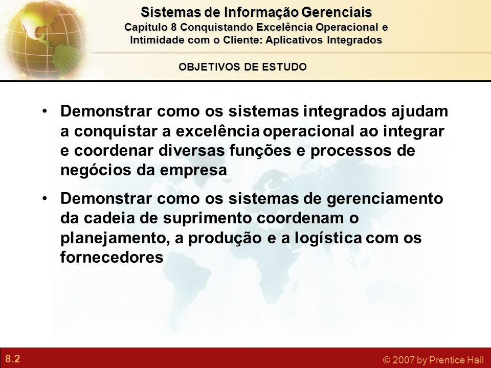 8.2 © 2007 by Prentice Hall Sistemas de Informação Gerenciais Capítulo 8 Conquistando Excelência Operacional e Intimidade com o Cliente: Aplicativos I