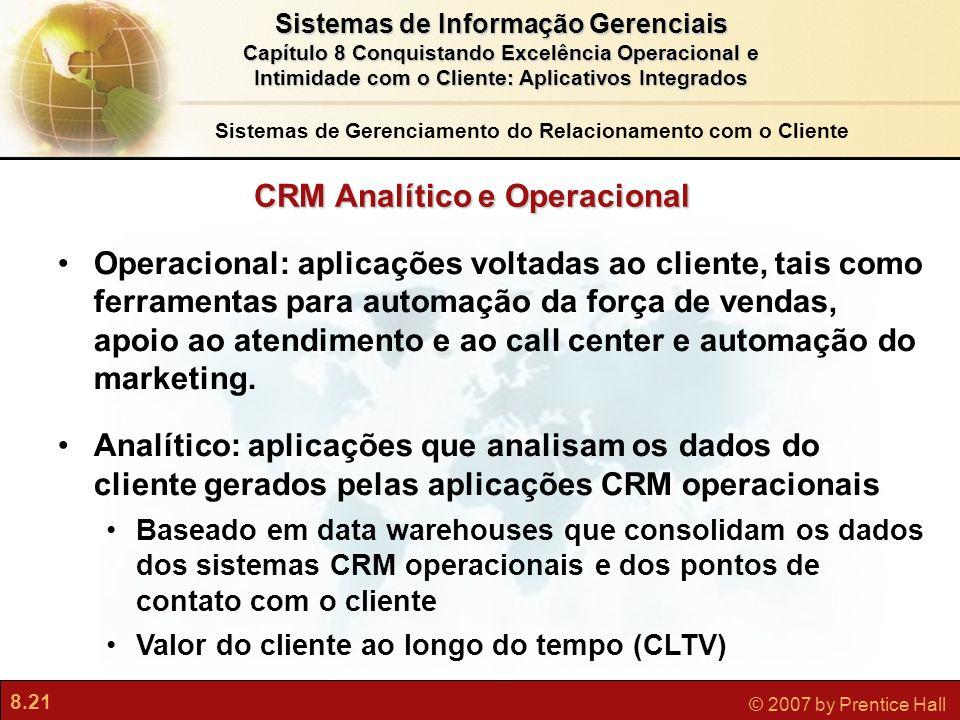 8.21 © 2007 by Prentice Hall Sistemas de Informação Gerenciais Capítulo 8 Conquistando Excelência Operacional e Intimidade com o Cliente: Aplicativos