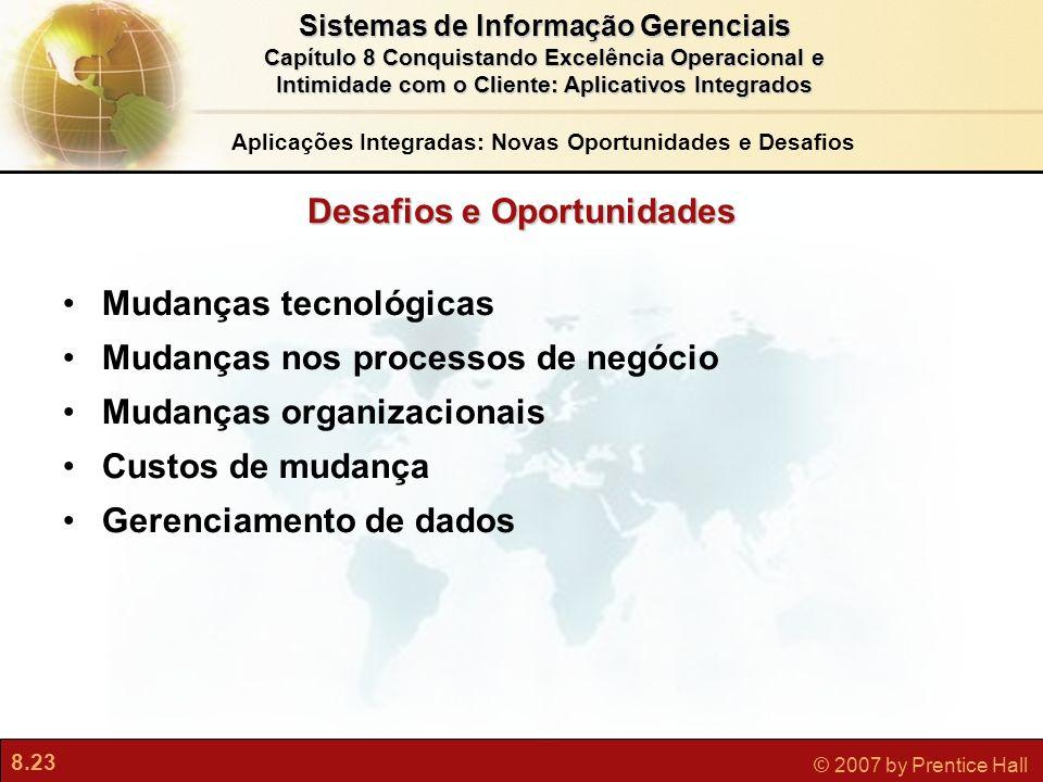 8.23 © 2007 by Prentice Hall Sistemas de Informação Gerenciais Capítulo 8 Conquistando Excelência Operacional e Intimidade com o Cliente: Aplicativos