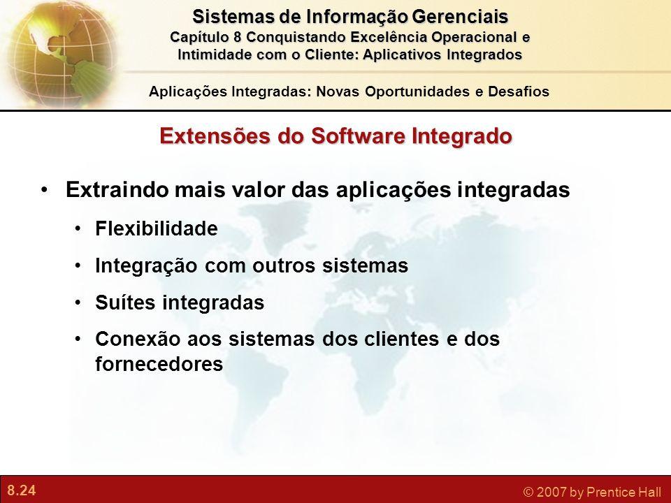 8.24 © 2007 by Prentice Hall Sistemas de Informação Gerenciais Capítulo 8 Conquistando Excelência Operacional e Intimidade com o Cliente: Aplicativos