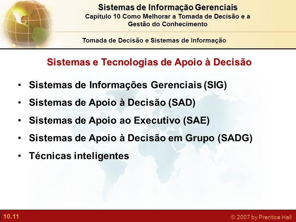 10.11 © 2007 by Prentice Hall Sistemas de Informação Gerenciais Capítulo 10 Como Melhorar a Tomada de Decisão e a Gestão do Conhecimento Sistemas e Te