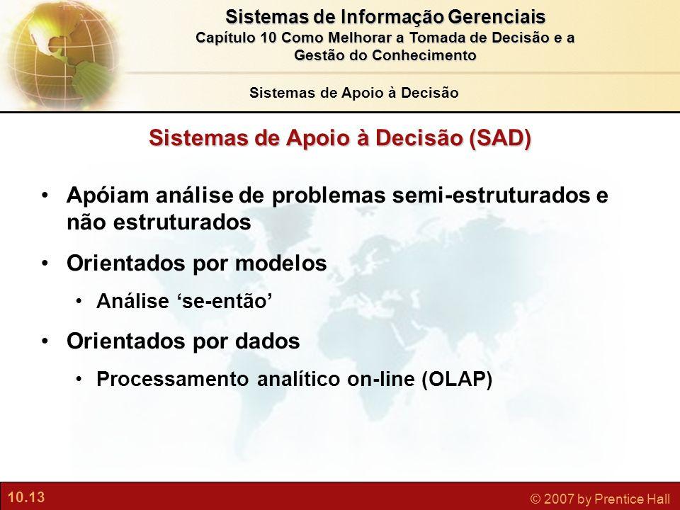 10.13 © 2007 by Prentice Hall Sistemas de Informação Gerenciais Capítulo 10 Como Melhorar a Tomada de Decisão e a Gestão do Conhecimento Sistemas de A