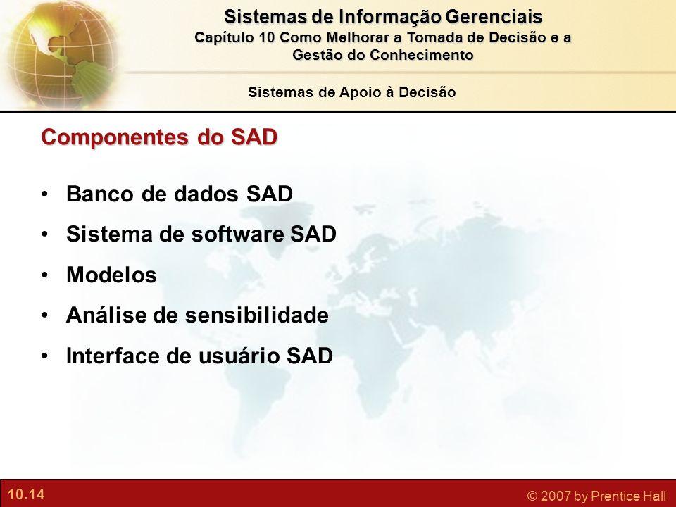 10.14 © 2007 by Prentice Hall Sistemas de Informação Gerenciais Capítulo 10 Como Melhorar a Tomada de Decisão e a Gestão do Conhecimento Componentes d