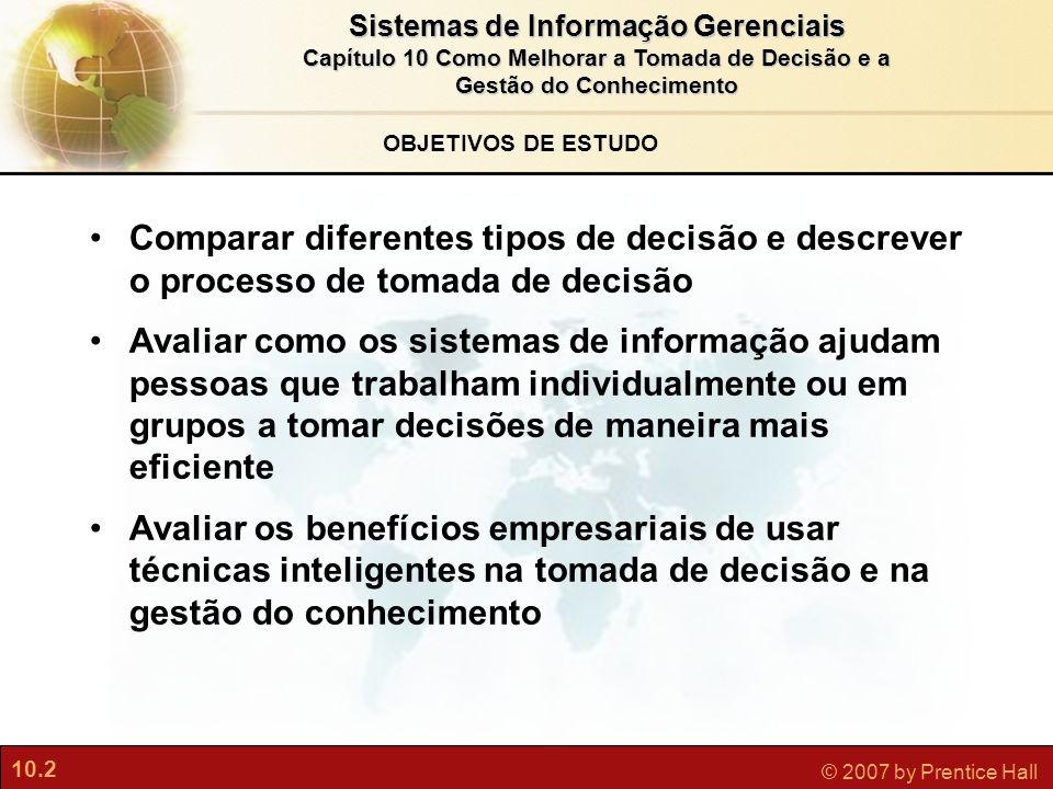 10.2 © 2007 by Prentice Hall Sistemas de Informação Gerenciais Capítulo 10 Como Melhorar a Tomada de Decisão e a Gestão do Conhecimento OBJETIVOS DE E