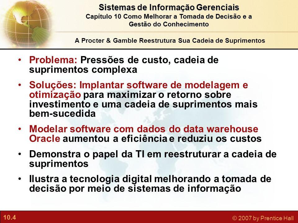 10.4 © 2007 by Prentice Hall Sistemas de Informação Gerenciais Capítulo 10 Como Melhorar a Tomada de Decisão e a Gestão do Conhecimento A Procter & Ga