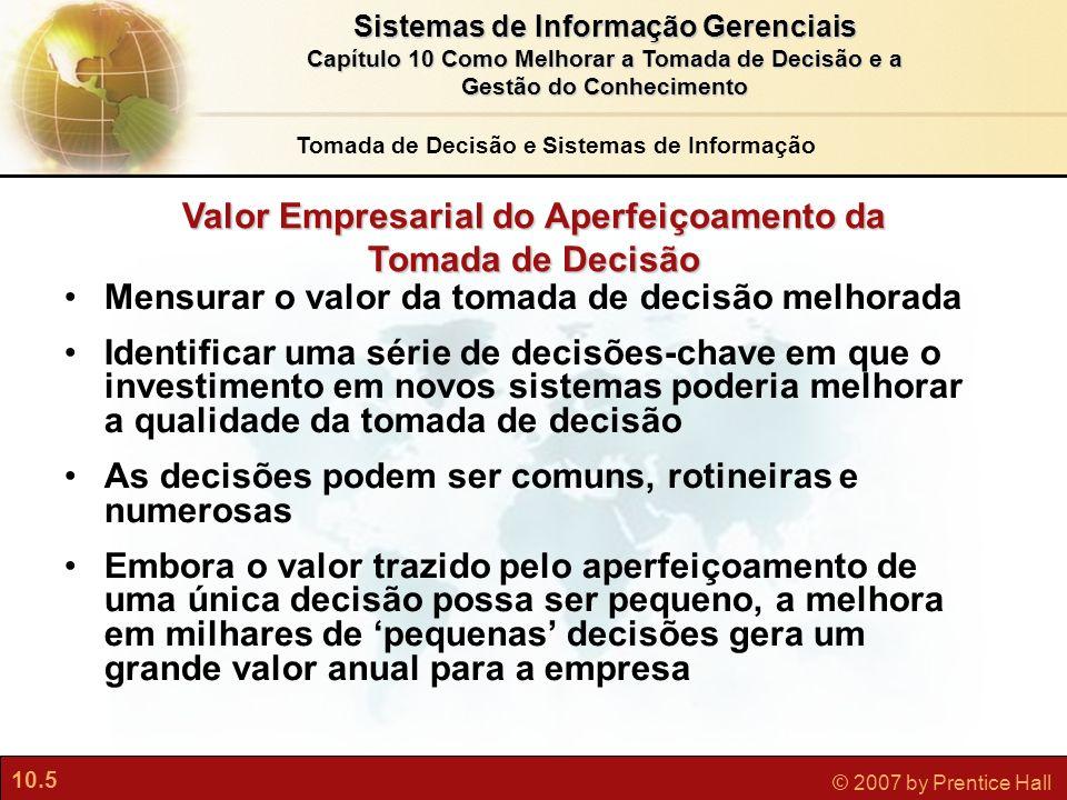 10.5 © 2007 by Prentice Hall Sistemas de Informação Gerenciais Capítulo 10 Como Melhorar a Tomada de Decisão e a Gestão do Conhecimento Tomada de Deci