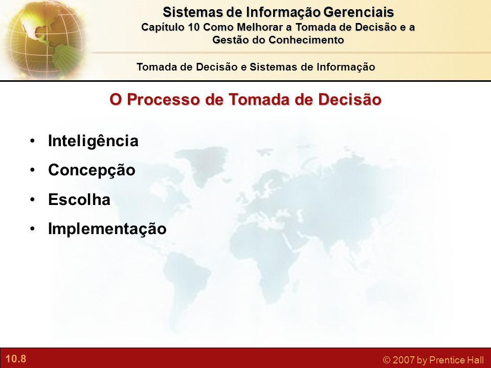 10.8 © 2007 by Prentice Hall Sistemas de Informação Gerenciais Capítulo 10 Como Melhorar a Tomada de Decisão e a Gestão do Conhecimento O Processo de