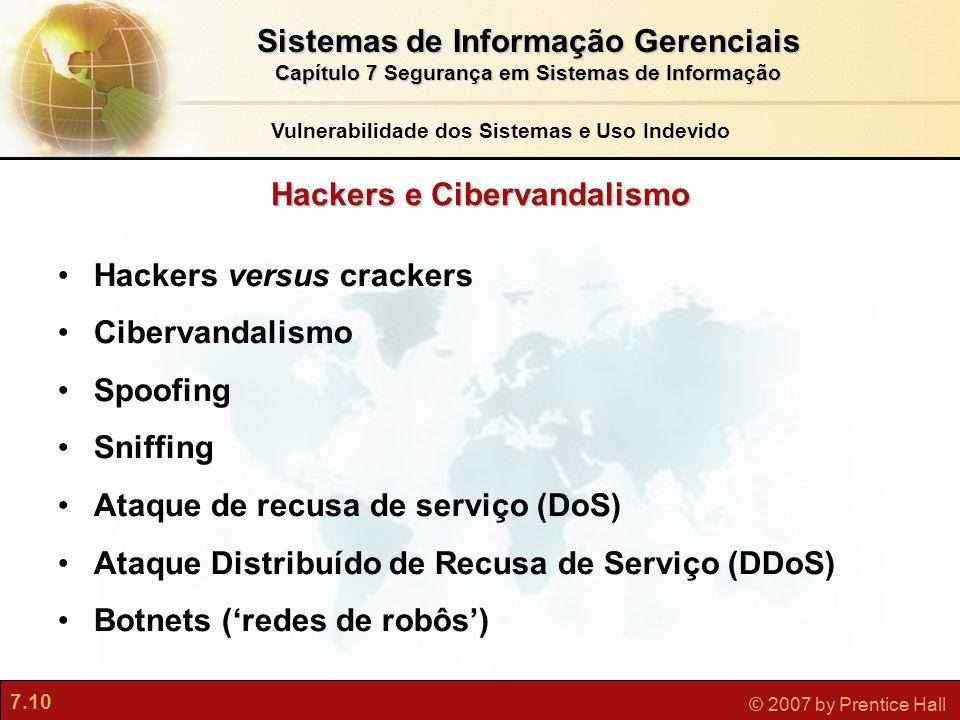 7.10 © 2007 by Prentice Hall Hackers e Cibervandalismo Hackers versus crackers Cibervandalismo Spoofing Sniffing Ataque de recusa de serviço (DoS) Ata