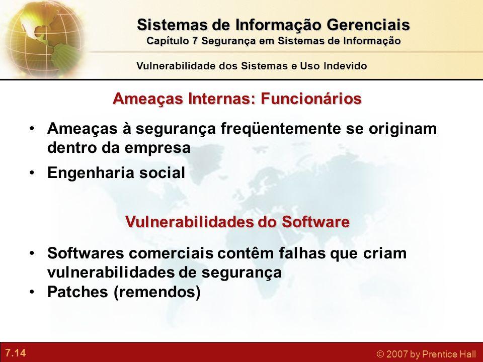 7.14 © 2007 by Prentice Hall Ameaças Internas: Funcionários Ameaças à segurança freqüentemente se originam dentro da empresa Engenharia social Vulnera