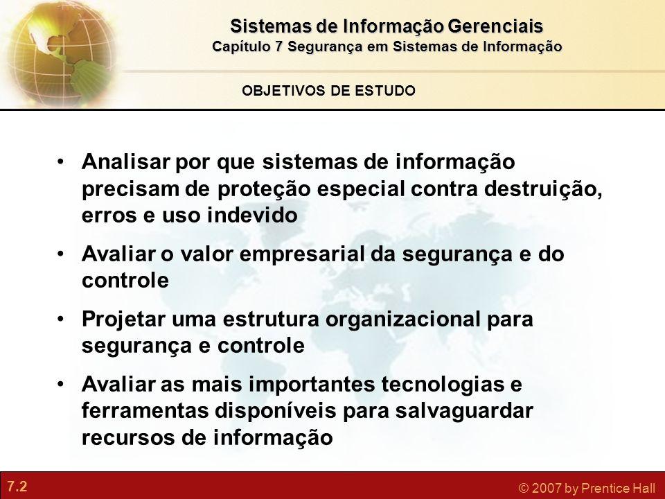 7.2 © 2007 by Prentice Hall OBJETIVOS DE ESTUDO Analisar por que sistemas de informação precisam de proteção especial contra destruição, erros e uso i